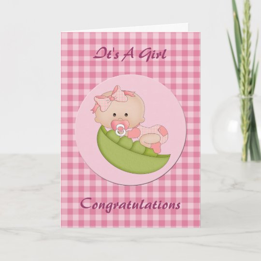 congratulation new baby girl in a pod pink