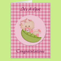 Congratulation New Baby Girl in a Pod Pink Card