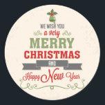 """Congratulation of Christmas Classic Round Sticker<br><div class=""""desc"""">Design of congratulation of Christmas</div>"""
