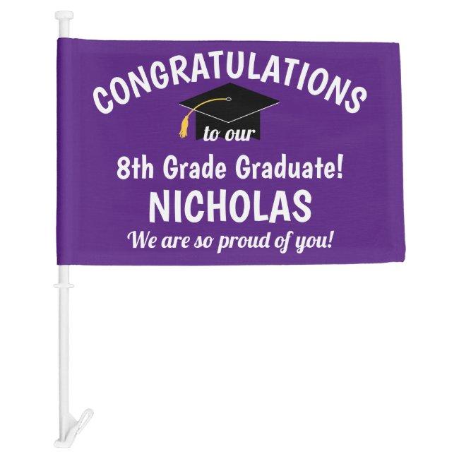 Congratulations 8th Grade Graduation Purple Car Flag