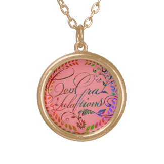 Congratulations and best wishes (color ver.) round pendant necklace