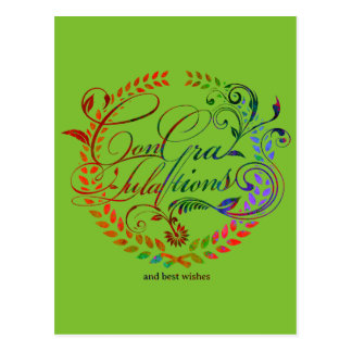 Congratulations and best wishes (color ver.) postcard