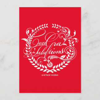 Congratulations and best wishes (white ver.) card