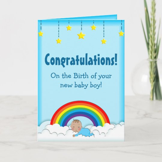 Congratulations Baby Boy rainbow card Zazzle