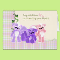 Congratulations Baby Triplets Card, New Baby Card