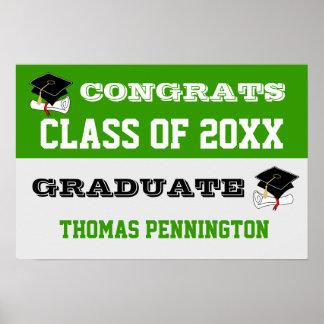 Congratulations Banner Poster Green