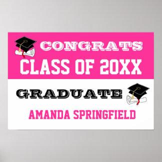 Congratulations Banner Poster Pink