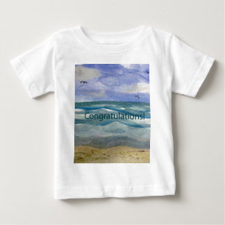 Congratulations Beach Theme Watercolor painting Baby T-Shirt