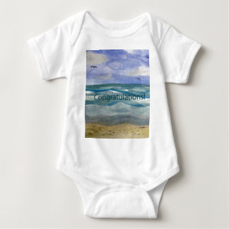 Congratulations Beach Theme Watercolor painting Infant Creeper