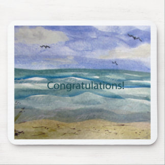 Congratulations Beach Theme Watercolor painting Mouse Pad