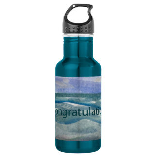 Congratulations Beach Theme Watercolor painting Water Bottle