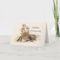 Congratulations becoming an Aunty Humor Cute Seals Card
