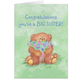 Congratulations BIG SISTER FunTeddy Bear Flowers Greeting Card