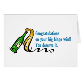 Congratulations bingo winner card