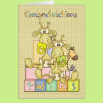 Congratulations Birth Of Twins Card - Cute Card