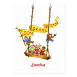 Congratulations Birthday Swing Children Postcard
