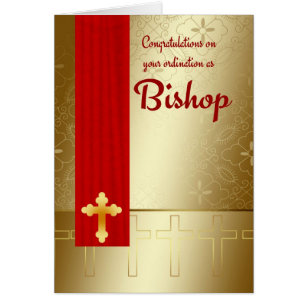 Bishop cards greeting photo cards zazzle congratulations bishop ordination in red and gold card m4hsunfo Image collections