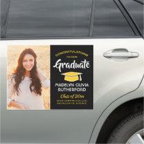 Congratulations Black Gold Yellow Photo Graduation Car Magnet
