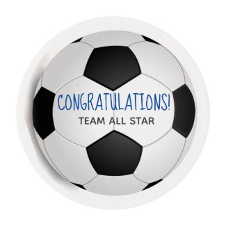 Congratulations Black White Custom Soccer Ball Edible Frosting Rounds