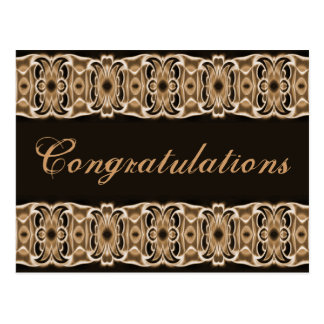Congratulations brown black postcard