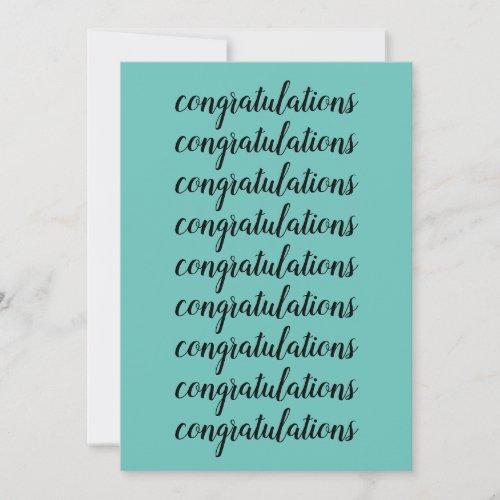 Congratulations Brush Script Light Teal Blank Card