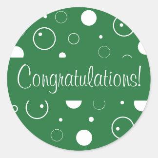 Congratulations Bubbles Envelope Seal Classic Round Sticker