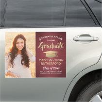 Congratulations Burgundy Gold Red Photo Graduation Car Magnet