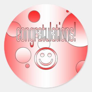 Congratulations! Canada Flag Colors Pop Art Classic Round Sticker