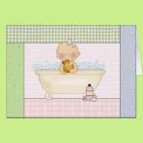 Congratulations Card: Baby Girl In Bathtub Card