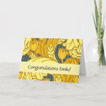 Congratulations card floral custom template