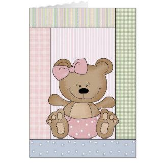 Congratulations Card: Teddy Bear With Pink Bow Card