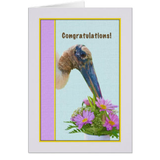 Congratulations Card with Wood Stork and Flowers