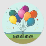 Congratulations! Celebration Balloons Classic Round Sticker