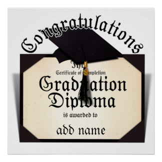 Congratulations! Certificate of Completion Diploma Poster