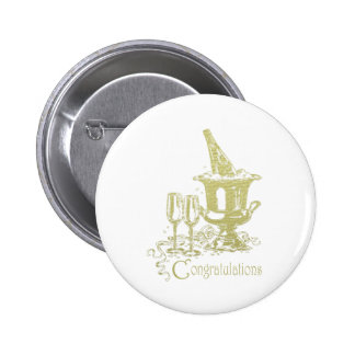 Congratulations, Champagne and Glasses Art Pinback Button