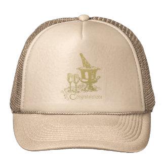 Congratulations, Champagne and Glasses Art Trucker Hat