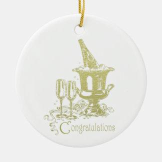 Congratulations Champagne Art Ceramic Ornament