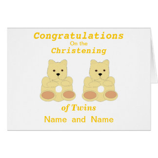 Congratulations Christening Twins add names Greeting Cards