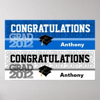 Congratulations Class of 2012 Banner Poster Blue