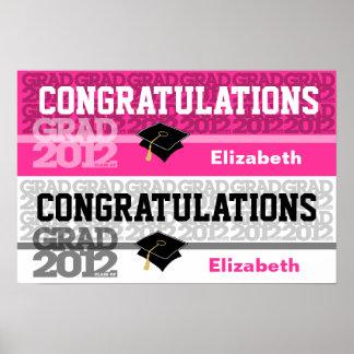 Congratulations Class of 2012 Banner Poster Pink