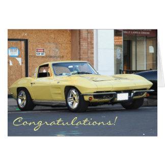 Congratulations Classic Yellow Vette  Card