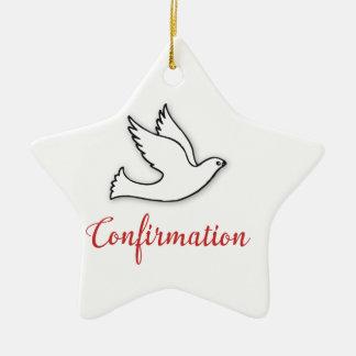 Congratulations Confirmation Dove with Gold, Red Ceramic Ornament