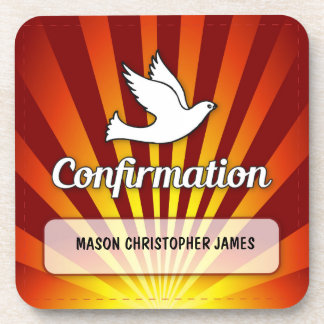 Congratulations Confirmation Dove with Gold, Red Drink Coaster