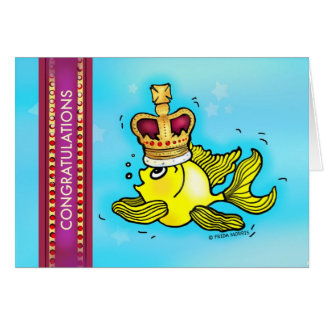 CONGRATULATIONS cute goldfish wearing a crown Card