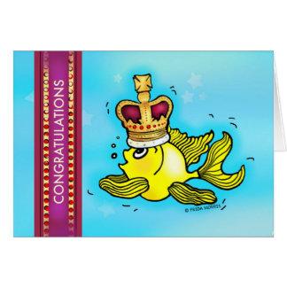 CONGRATULATIONS cute goldfish wearing a crown Card