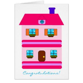 Congratulations! Cute Pink New Home Housewarming Card