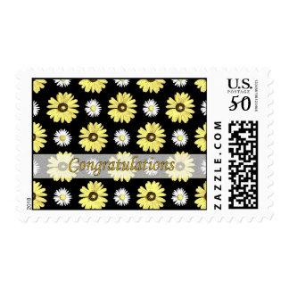 Congratulations Daisies on Black Medium Stamp