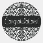 Congratulations Damask Envelope Seal Classic Round Sticker