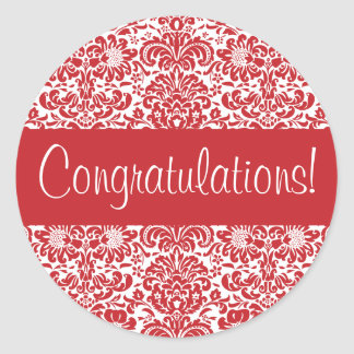 Congratulations Damask Envelope Seal Round Stickers