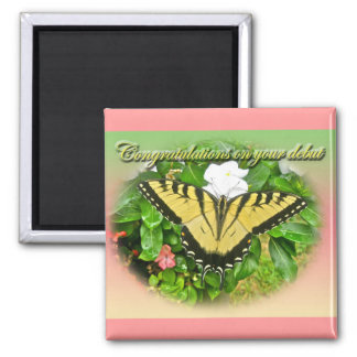 Congratulations Debut Swallowtail Butterfly Items Magnet